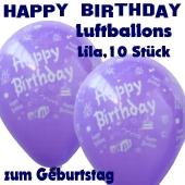 Happy Birthday Motiv Luftballons, Latexballons zum Geburtstag, 10 Stück, Lila