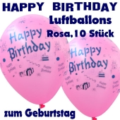 Happy Birthday Motiv Luftballons, Latexballons zum Geburtstag, 10 Stück, Rosa