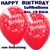 Happy Birthday Motiv Luftballons, Latexballons zum Geburtstag, 10 Stück, Rot