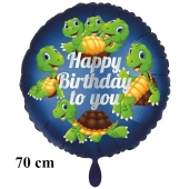 Happy Birthday to you, großer Luftballon mit Schildkröten zum Kindergeburtstag m it Helium