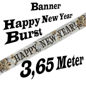 Silvester Dekoration Letterbanner Happy New Year Burst