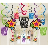 Silvester Dekoration, Swirls, Wirbler, Deko-Hänger, Happy New Year, bunt