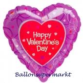 Happy Valentine's Day Luftballon mit Herzchen aus Folie mit Helium zum Valentinstag