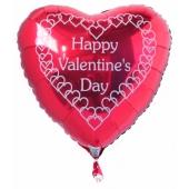 Happy Valentine's Day Luftballon mit weißen Herzchen aus Folie mit Helium zum Valentinstag