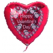 Happy Valentine's Day Rose Heart, Luftballon mit Helium zum Valentinstag
