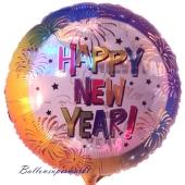 Luftballon aus Folie zu Silvester und Neujahr, Happy New Year Rainbow, Ballon mit Helium