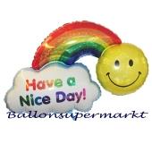 Have a Nice Day Luftballon mit Ballongas, Smiley und Regenbogen wünschen einen schönen Tag