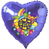 Helau, Luftballon aus Folie, Folienballon mit Ballongas, Herzballon blau zu Karneval