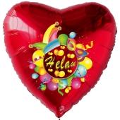 Helau, Luftballon aus Folie, Folienballon mit Ballongas, Herzballon rot zu Karneval