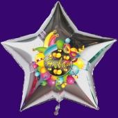 Helau, Luftballon aus Folie, Folienballon mit Ballongas, Sternballon silber zu Karneval