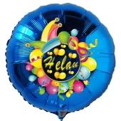 Helau, Luftballon aus Folie, Folienballon mit Ballongas, Rundballon blau zu Karneval