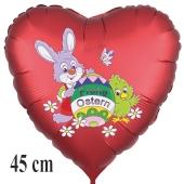 Satinroter Helium Luftballon zu Ostern, Osterhase mit Osterei, Osterküken und Schmetterling