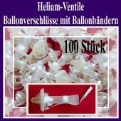 Helium-Ventile, Ballonverschlüsse mit Ballonbändern für Luftballons von 25 cm bis 35 cm, 100 Stück