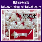 Helium-Ventile, Ballonverschlüsse mit Ballonbändern für Luftballons von 25 cm bis 35 cm, 50 Stück