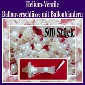 Helium-Ventile, Ballonverschlüsse mit Ballonbändern für Luftballons von 25 cm bis 35 cm, 500 Stück