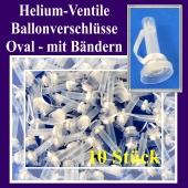 Helium-Ventile, Ballonverschlüsse oval mit Ballonbändern für Luftballons von 25 cm bis 33 cm, 10 Stück