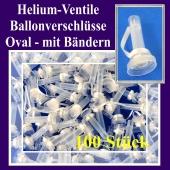 Helium-Ventile, Ballonverschlüsse oval mit Ballonbändern für Luftballons von 25 cm bis 33 cm, 100 Stück