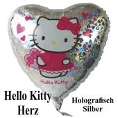 Hello Litty Luftballons, Herzballon silber, holografisch