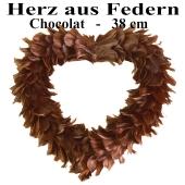 Herz aus Federn in Schoko-Braun
