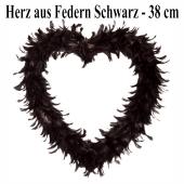 Herz aus Federn in Schwarz