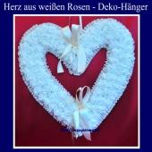 Herz aus weißen Rosen, großer Hochzeits-Deko-Hnger, romantische Hochzeitsdekoration