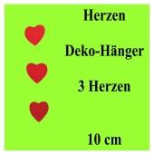 Herz-Dekohänger, 3 rote Herzen am Band, 10 cm Herzen, herzdekoration