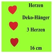 Herz-Dekohänger, 3 Rote Herzen, 16 cm, Herzdekoration