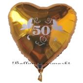 Herzballon aus Folie, 50 Gold, mit Ballongas Helium, Dekoration Goldene Hochzeit