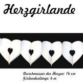 Herzgirlande in Weiß, 16 cm