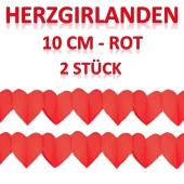 Herzgirlanden Rot, 10 cm, 3 Meter, 2 Stück
