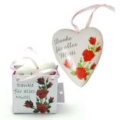 """Herzhänger """"Danke für alles Mutti"""" aus Porzellan zum Muttertag"""