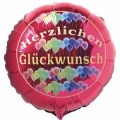 Herzlichen Glückwunsch Luftballon mit Helium, roter Rundballon aus Folie