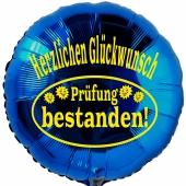 Herzlichen Glückwunsch! Prüfung bestanden! Blauer Luftballon aus Folie mit Helium Ballongas