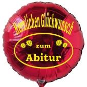 Herzlichen Glückwunsch zum Abitur, Rund-Luftballon aus Folie mit Helium Ballongas