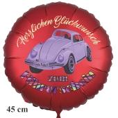 Herzlichen Glückwunsch zum Führerschein! Satinroter Luftballon, 45 cm, inklusive Helium