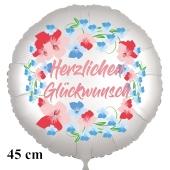 Herzlichen Glückwunsch. Rundluftballon aus Folie, satin-weiß-flowers, 45 cm