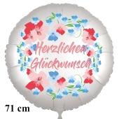 Herzlichen Glückwunsch. Rundluftballon aus Folie, satin-weiß-flowers, 71 cm