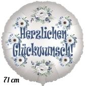 Herzlichen Glückwunsch, Luftballon aus Folie, satinweiß, 71 cm, Rundballon