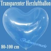 Großer transparenter Herzuftballon, 80-1000 cm