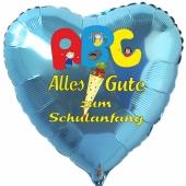 Alles Gute zum Schulanfang, Herzluftballon aus Folie, Türkis, mit Helium-Ballongas