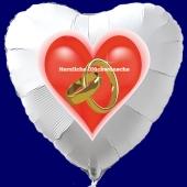 Hochzeitsballon, Luftballon zur Hochzeit, weißer Herzballon mit Trauringen, Herzliche Glückwünsche
