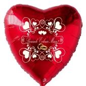 Herzluftballon in Rot zum Heiratsantrag. Benimle Evlenir Misim?