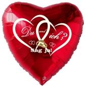Herzluftballon in Rot zum Heiratsantrag. Du und ich? Sag ja!