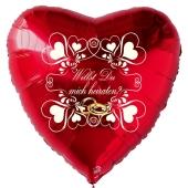 Herzluftballon in Rot zum Heiratsantrag. Willst Du mich heiraten?