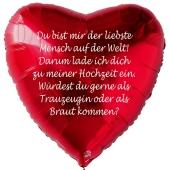 Herzluftballon in Rot zum Heiratsantrag. Einladung zur Hochzeit
