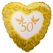 Herzluftballon aus Folie, Zahl 50, Rosen und Tauben, inklusive Ballongas Helium, Dekoration Goldene Hochzeit
