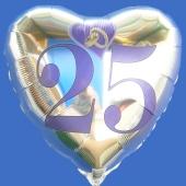 Herzluftballon aus Folie in Silber, Trauringe im Herz, Zahl 25, zur Silbernen Hochzeit inklusive Helium Ballongas