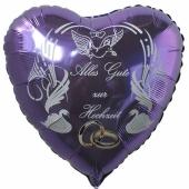Hochzeitsballon, Luftballon zur Hochzeit, fliederfarbener Herzballon mit Trauringen, Alles Gute zur Hochzeit