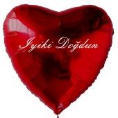 """Herzluftballon in Rot, 45 cm """"Iyiki Doğdun"""""""