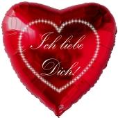 """Herzluftballon in Rot """" Ich liebe Dich!"""" Sternchenherz"""